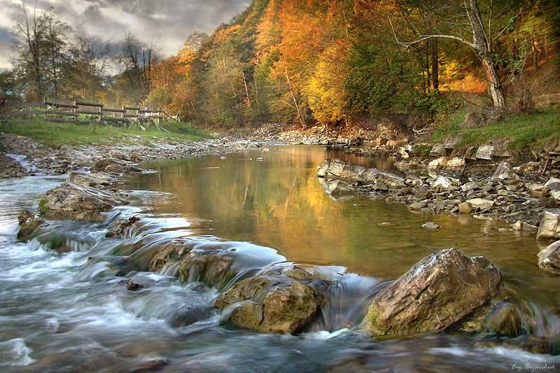 autumn in carpathians | forest, autumn, rocks, river, hdr