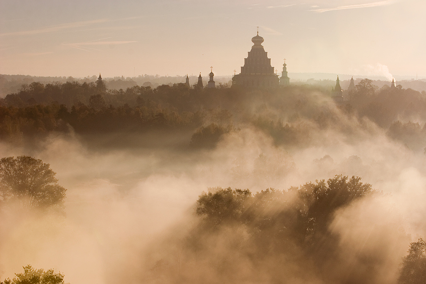 heavenly city - new jerusalem | light, fog, forest, panorama, cathedral