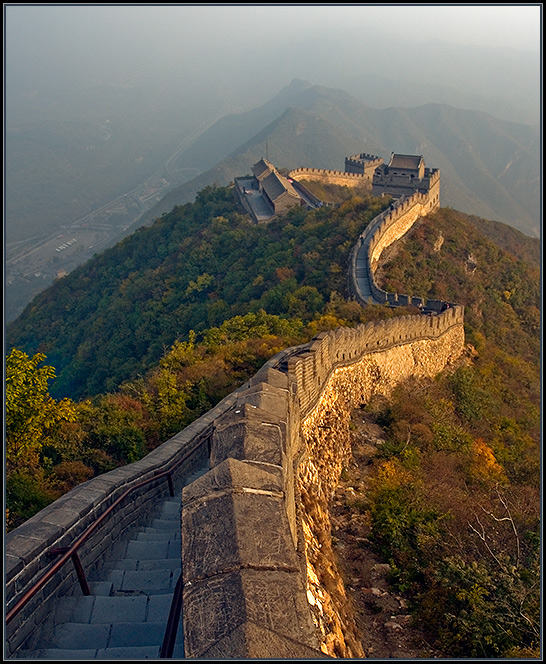 The Great Wall. View #1 | mountains, china, stairs, forest, wall