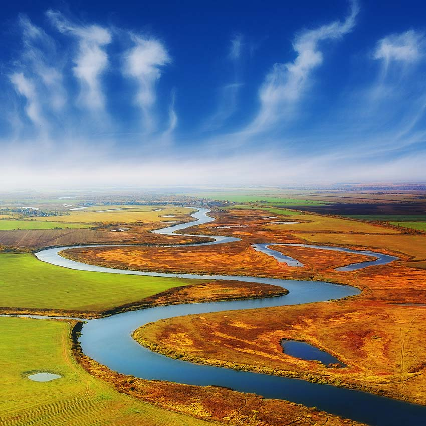 central russian landscape | panorama, field, river