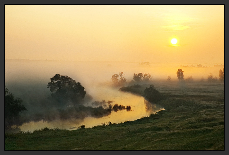 Curtain of Silence | sunrise, field, fog, river, morning