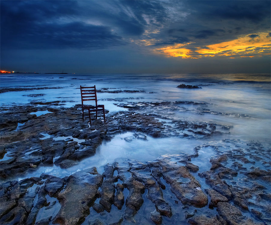 Ice age | stone, sea, sky, abstraction, chair