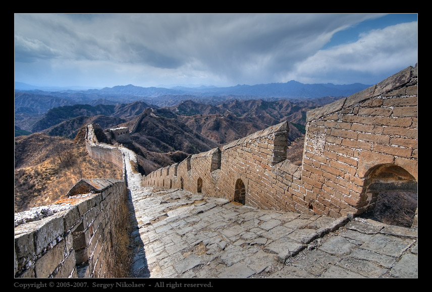 Road from the Past | clouds, wall, mountains, China, road