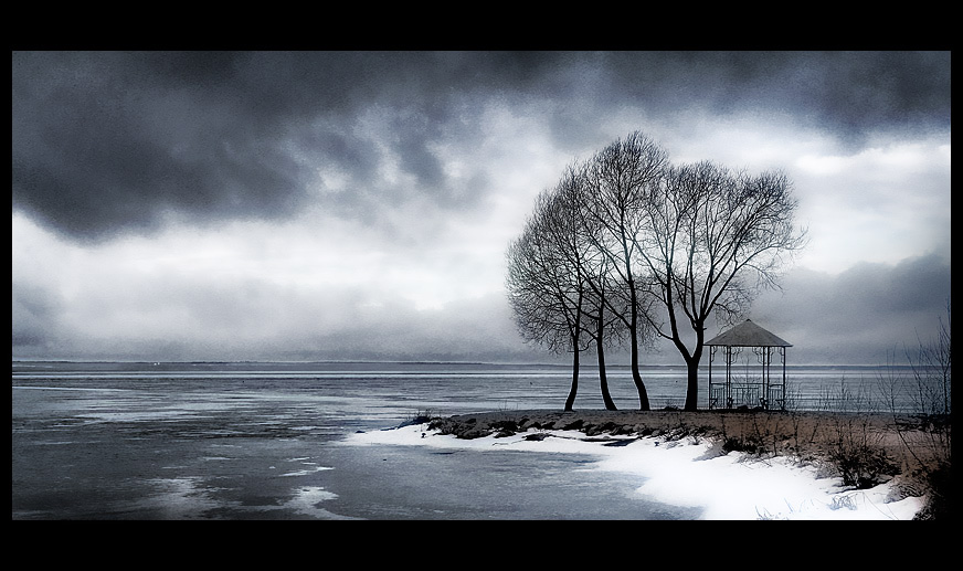 Brooding skies | arbor, ice, lake, trees, dark sky
