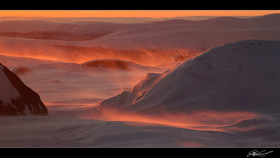 Sunset in the mountains | wind, snow, dawn, mountains