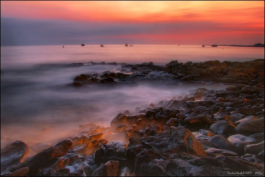 pink sunset on the big island... | rocks, waves, ocean, dusk