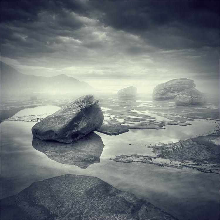 Stone Phantoms | water, fog, dark, clouds, stones
