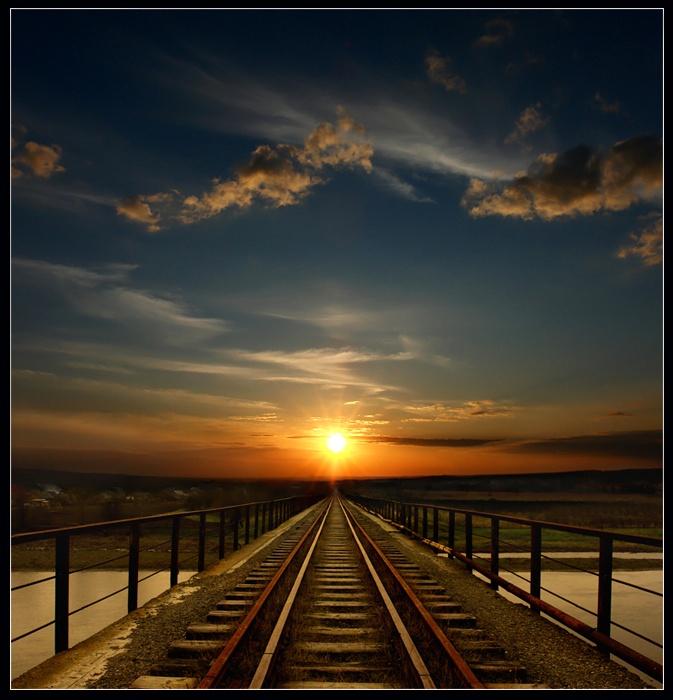 road to the sun... | light, bright, railroad, sunset, sun