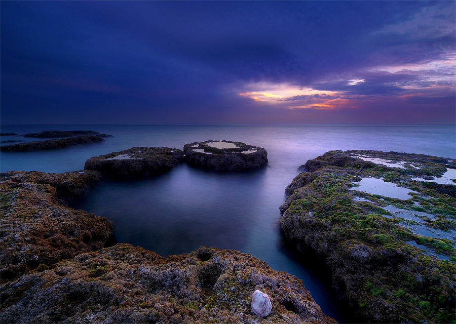 Color of Silence | rocks, sea, sunset, purple, skylline