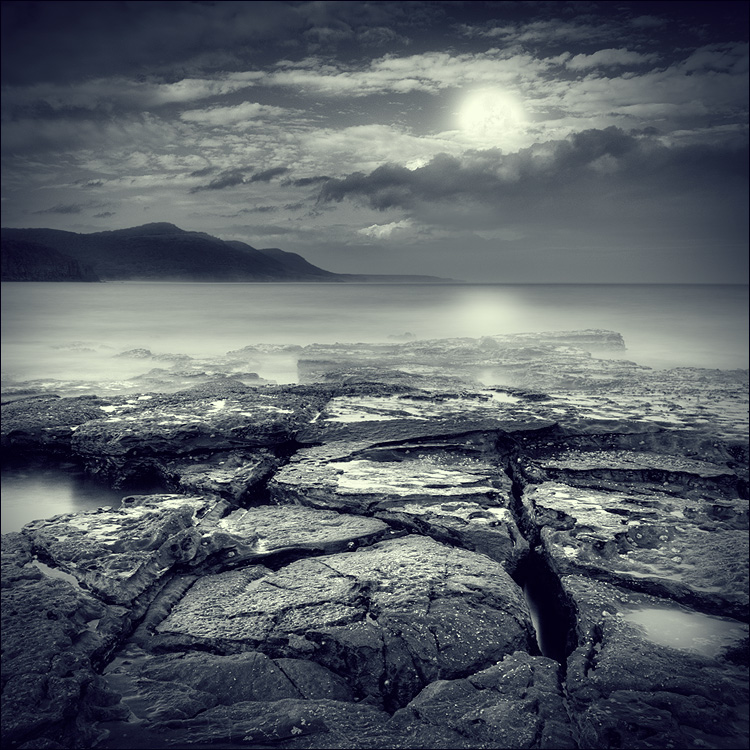 5000 moons back | duotone, night, moon, rock, sea
