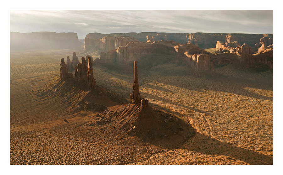 dawn in Navajo temple | panorama, mountains, dawn, fog, valley