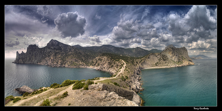 on cape kapchik | sky, sea, mountains, cape, panorama