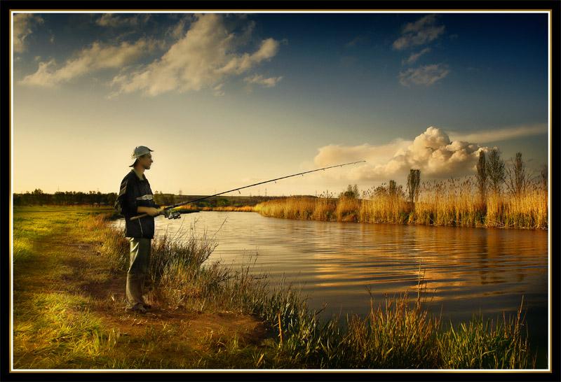 Fisherman | people, fisherman, autumn, river, shore