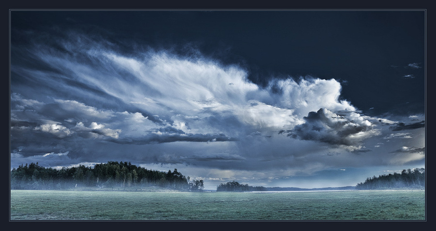 About blue fog | clouds, forest, sea, fog