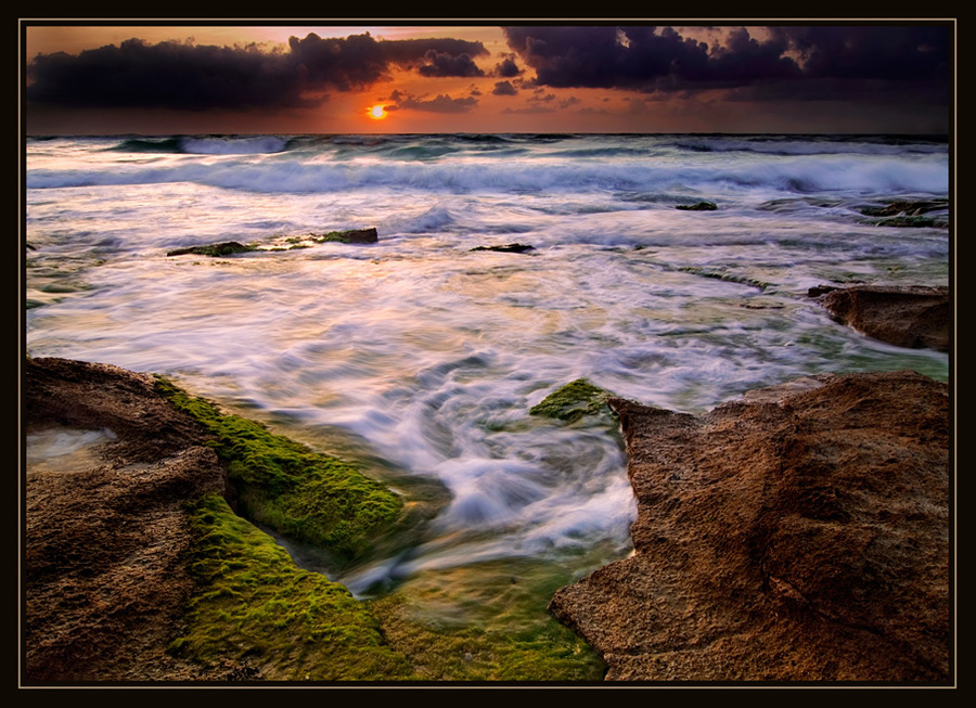 Mediterranean, once upon an evening | sea, sky, foam, clouds, waves, dusk, rocks, shore, evening, hdr