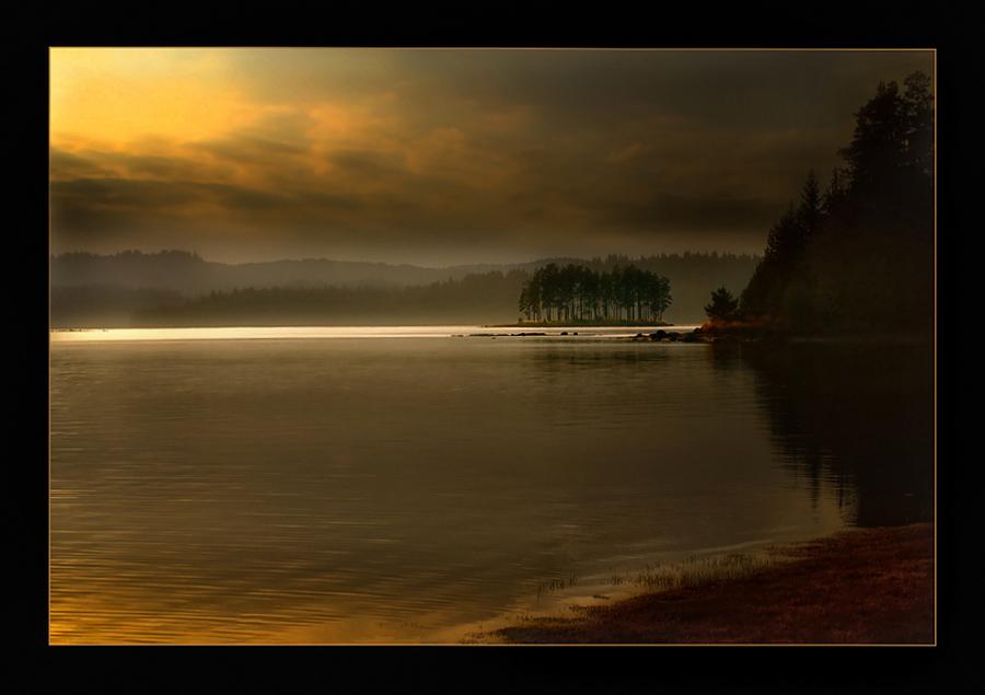 Sunset fantasy | sky, river, dusk, shore, evening