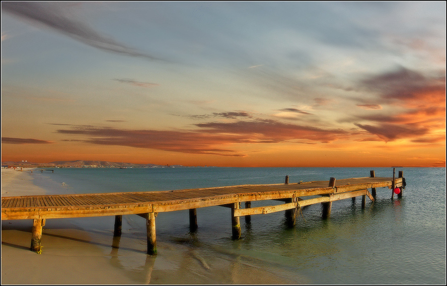 Sunset beach | sea, sand, beach, pier