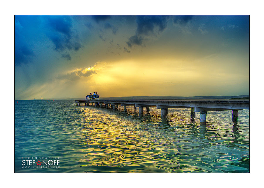 Blue sunset   clouds, sea, people, sunset, wharf