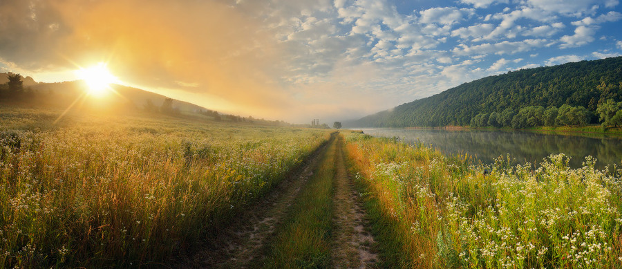 Sunrise at Dnestr | light, sun, river, field, sunrise