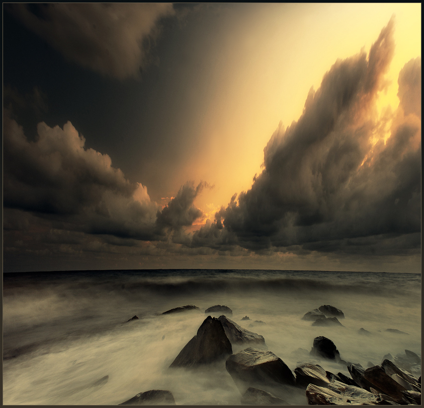 Sea, rocks, sky, wind | sky, dusk, rocks, sea, clouds