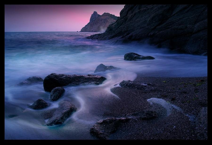 Evening swash   sea, rocks, shore, evening, waves