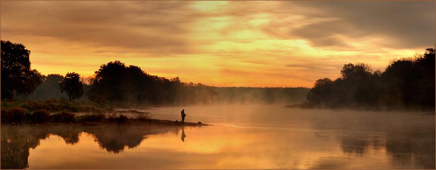 Lonely fisherman | fisherman, people, morning, mist, shore