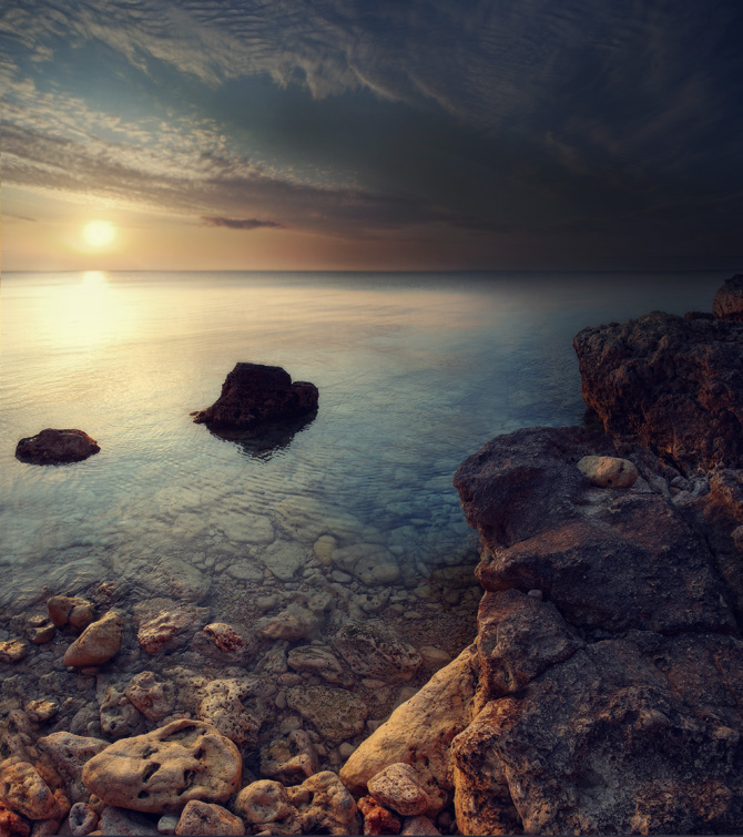 Evening sea | evening, sun, dusk, rocks, skyline