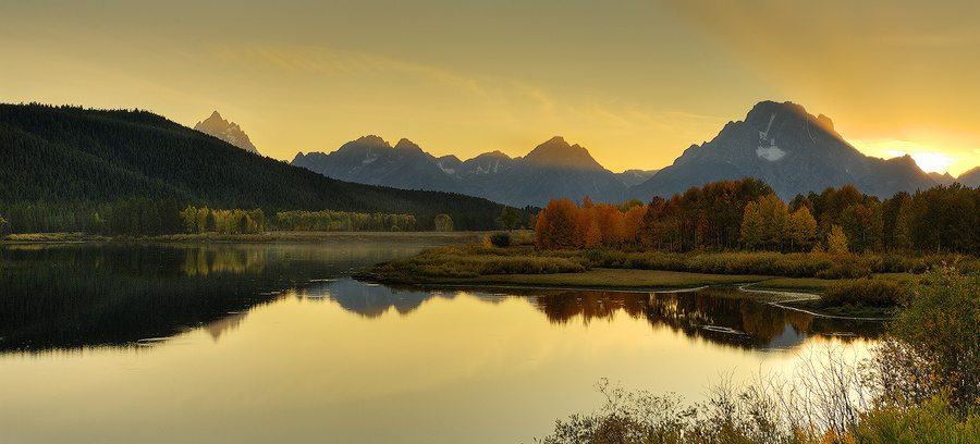 Here it comes | reflection, autumn, mountains, panorama, lake, forest