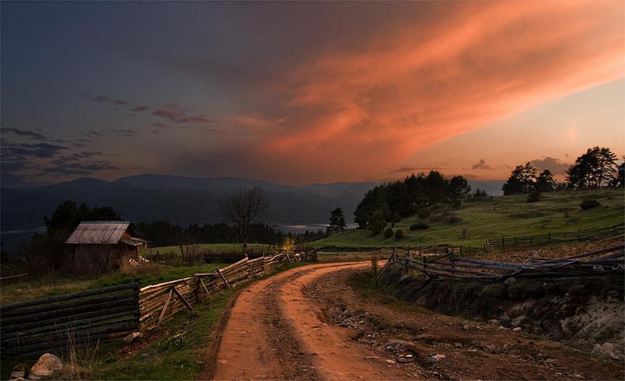 Dusk | house, pathway, field