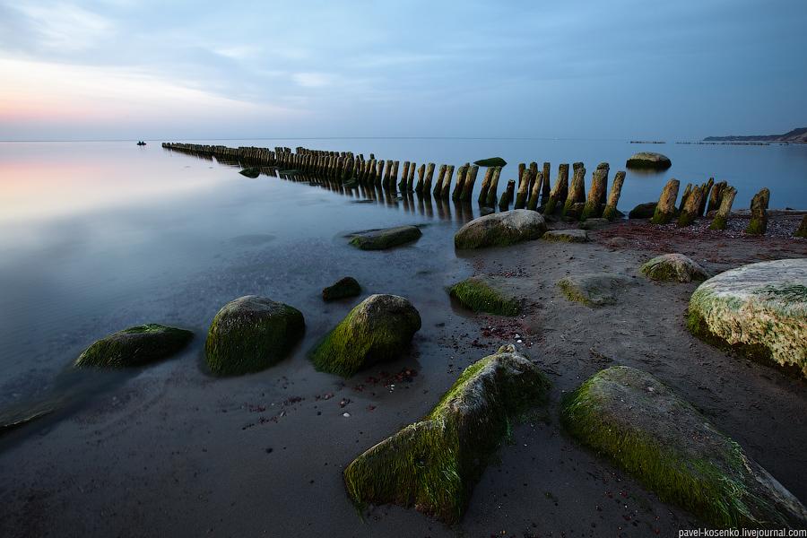 Fishermen | shore, dusk, rocks, sea