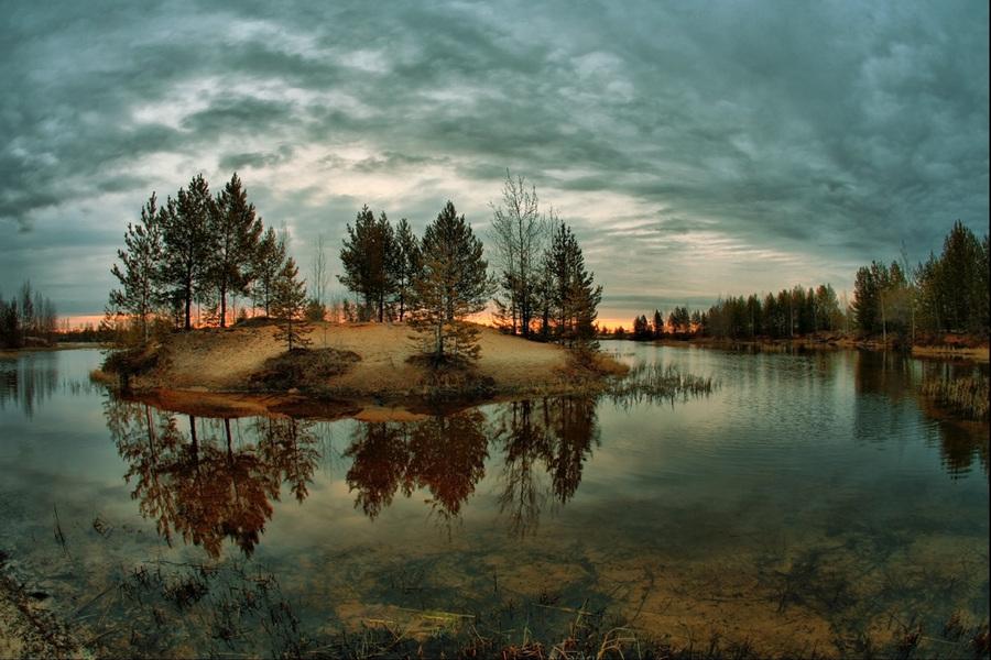 Undiscovered islands | island, water, reflection, panorama, dusk