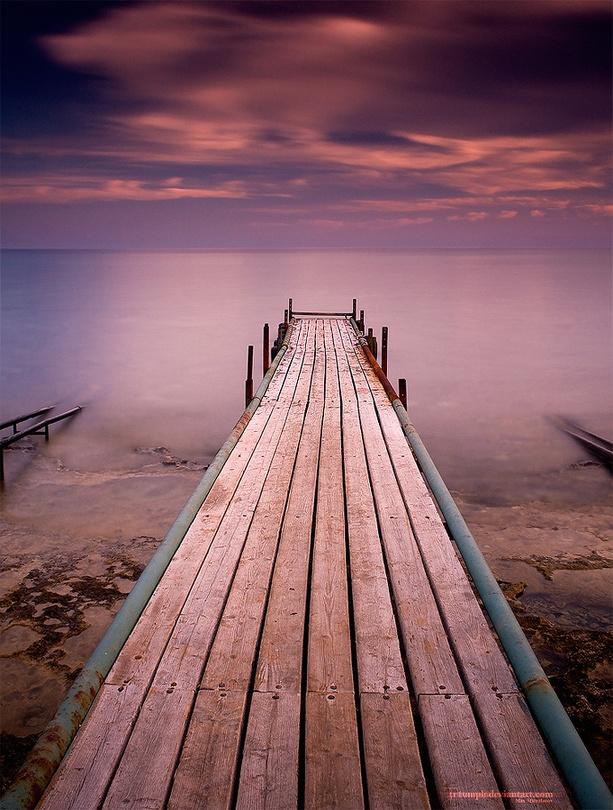 Enjoy The Silence   wharf, skyline , mist, dusk, sea