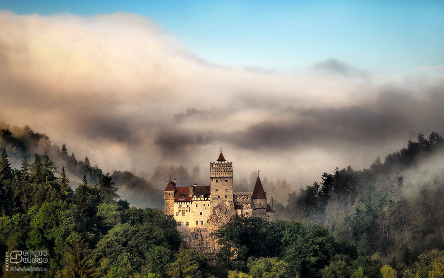 Dracula's Castle | mountains, forest, fog, panorama, сastle
