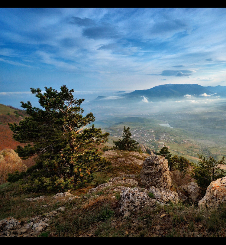 Crimean | valley, tree, panorama, sky, mountains