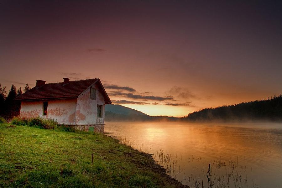 House on the shore | house, sunset, lake, fog