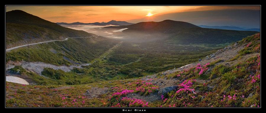 Mounds | mountains, dusk, panorama, fog