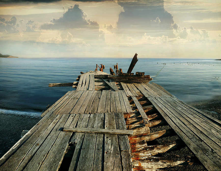 Calm | sea, clouds, dock