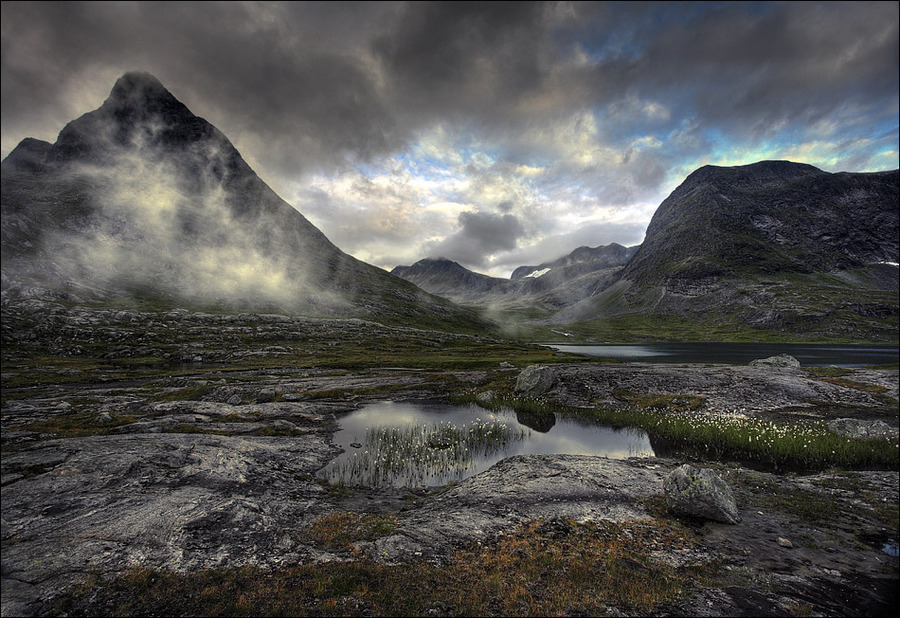 Gray clouds | mountains, haze, hdr