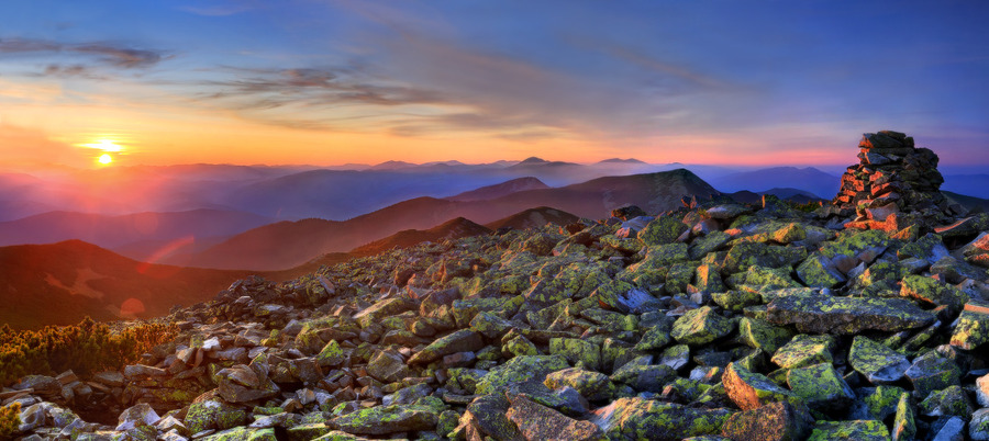Searching for myself | mountains, sunset, stones, panorama, hdr