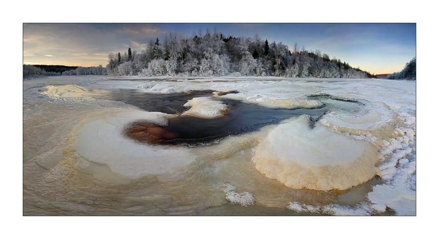 Oyat rapids | winter, ice, panorama, river, snow