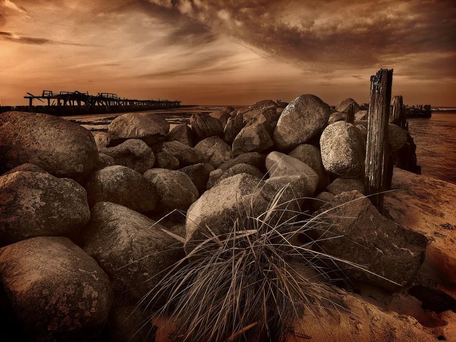 Guard | rocks, sea, sepia