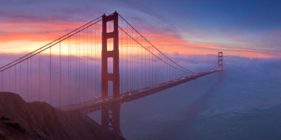 Bridge to infinity | clouds, bridge, sea, sunset