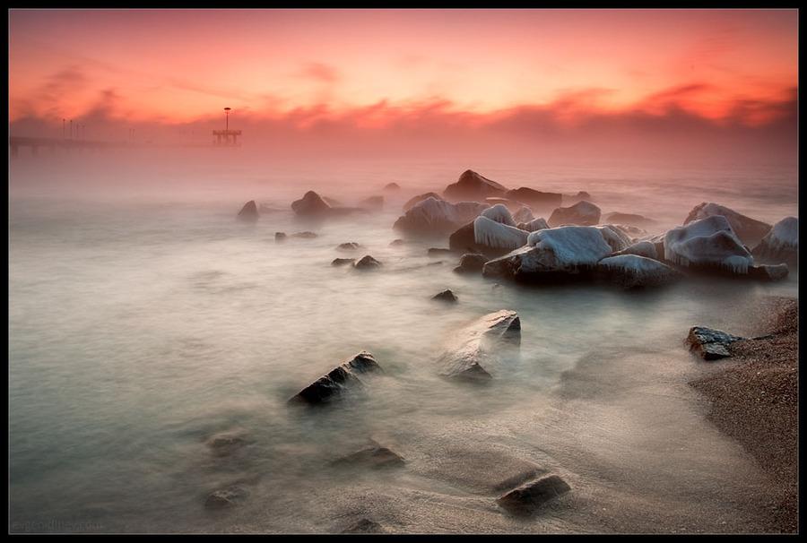 Boiling sea | dawn, sea, rocks, mist