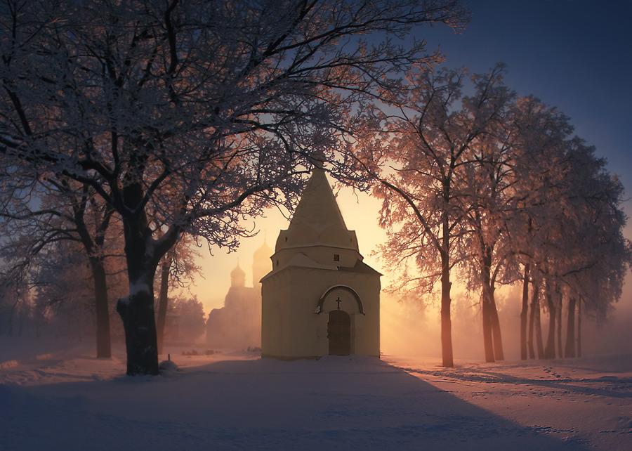 Morning Prayer in winter   church, fog, sunrise, winter