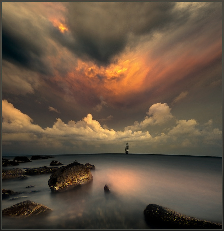 The element of the sea | panorama, clouds, sea, sunset, mist