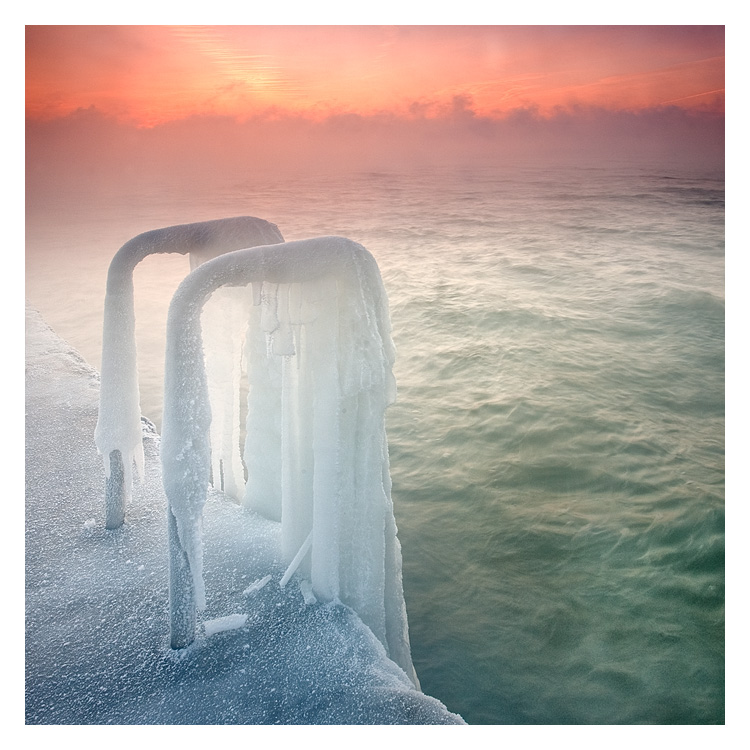 Stairway to hell  | dawn, sea, winter, mist, ice