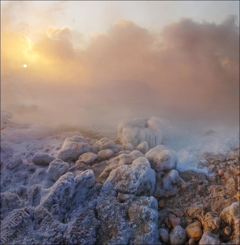 Crimea in winter | winter, rocks, snow, fog