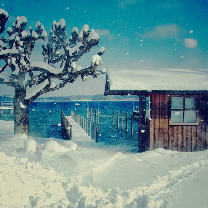 Winter wind | house, winter, lake, wharf, snow