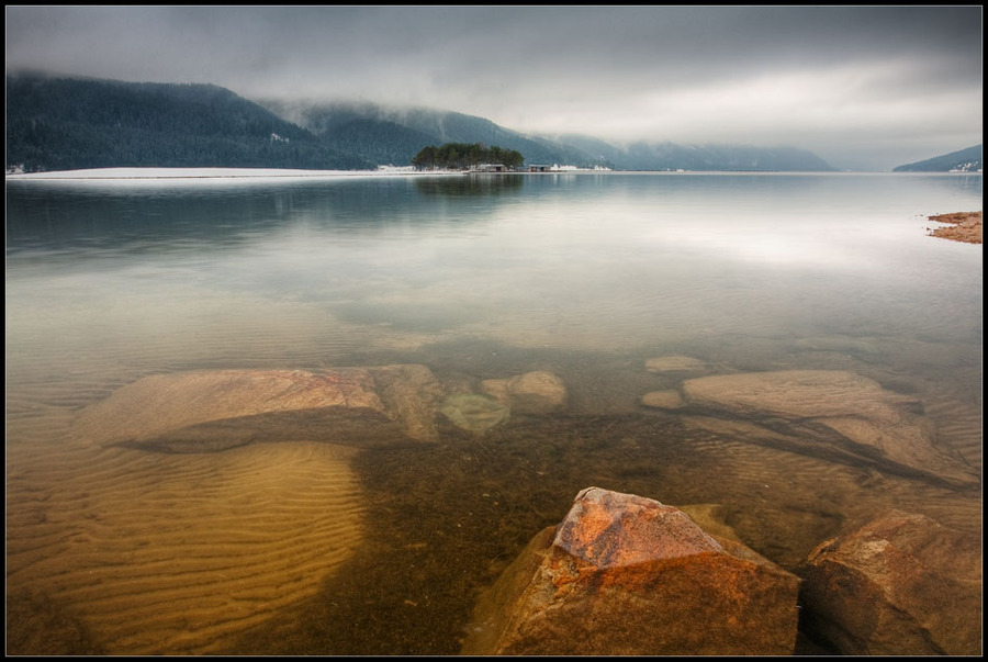 Morning reflections | lake, reflection, fog