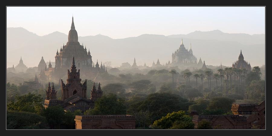 Panorama from Burma | haze, panorama, cathedral
